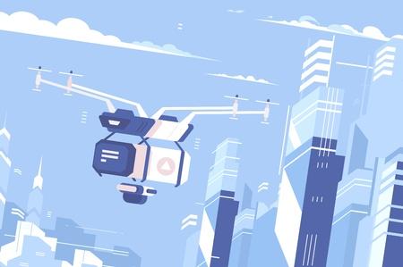 Illustration pour Drone delivers parcel - image libre de droit