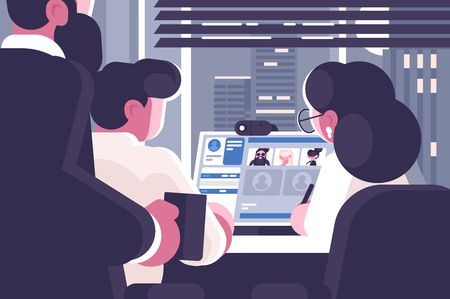 Ilustración de Office workers group video chat. Online communication concept. Web conference virtual discussion. Flat style. Business meeting webinar. Horizontal vector illustration. - Imagen libre de derechos