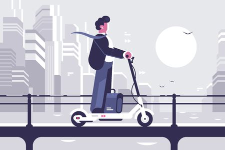 Illustration pour Young man riding electric scooter modern cityscape background. Ecology transport concept. Flat style. Vector illustration. - image libre de droit