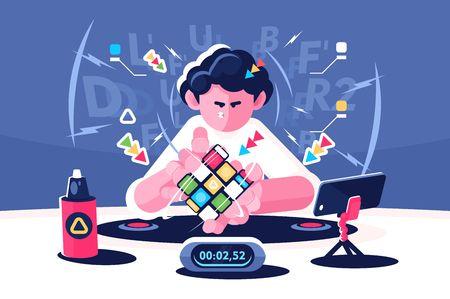 Ilustración de Man collect Rubik Cube timer championship concept - Imagen libre de derechos