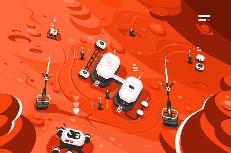 Illustration pour Mars planet station orbit base - image libre de droit