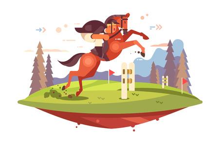 Ilustración de Professional Horseback Riding vector illustration. Jockey boy in uniform overcoming of obstacles flat style concept. Horse and man rider jumping hurdles - Imagen libre de derechos