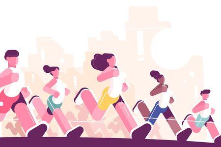 Ilustración de Men and women training to marathon in park. Jogging people in sportswear. Runners group in motion flat style vector illustration. Sport concept. Buildings on background - Imagen libre de derechos