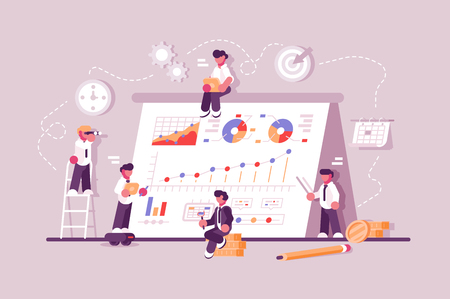 Illustration pour Business people working at finance productivity graph. Commerce solutions for investments concept. Analysis of sales statistic grow data accounting infographic. Economic deposits - image libre de droit