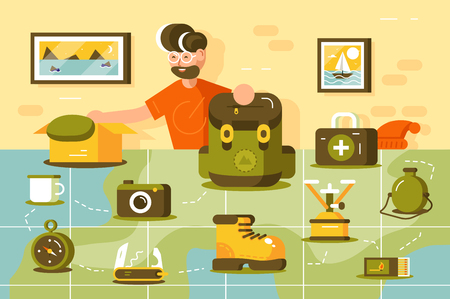 Ilustración de Tourist going hiking vector illustration. Young bearded man standing near country map. Boy putting various important trip equipment in camping backpack flat style design. Traveling concept - Imagen libre de derechos