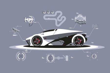 Illustration pour Modern car technology - image libre de droit
