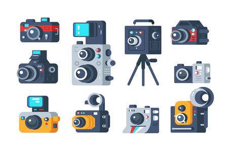 Illustration pour Different types of cameras set - image libre de droit