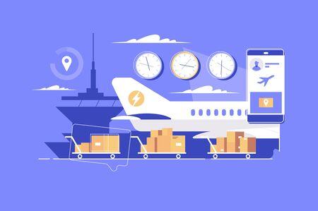Illustration pour Modern parcel delivery - image libre de droit