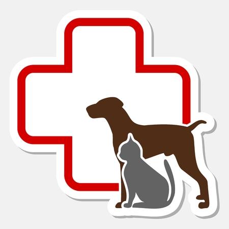 Ilustración de Veterinary icon with medicine symbol - Imagen libre de derechos