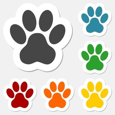 Ilustración de Paw Print Sticker set - Illustration - Imagen libre de derechos