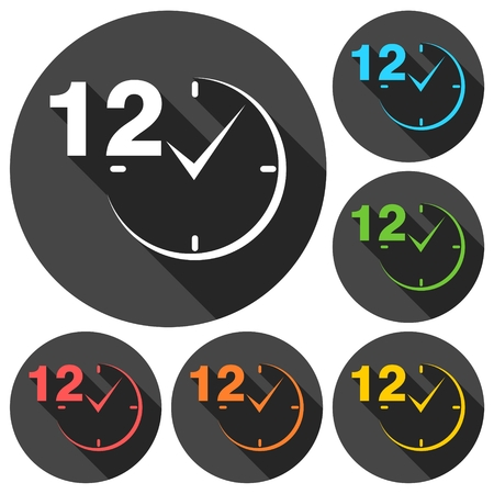 12 hours circular icons set with long shadow