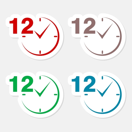 12 hours circular icons set