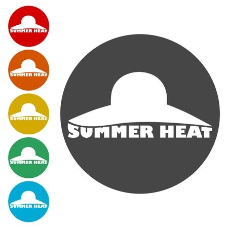 Illustration pour Summer heat icons set - Illustration - image libre de droit