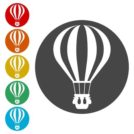 Illustration pour Hot Air Balloons Flying icons set - Illustration - image libre de droit
