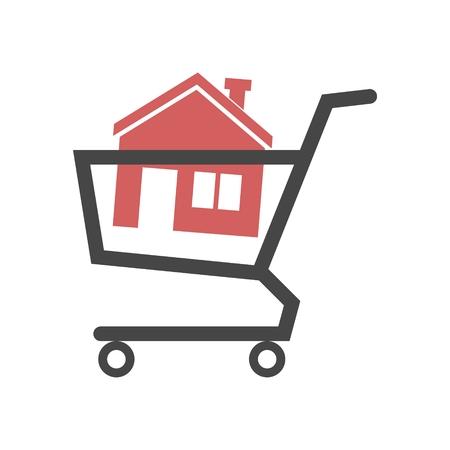 Illustration pour House in shopping cart - image libre de droit