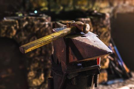 Photo for Dark smithy with blacksmith tools - Royalty Free Image