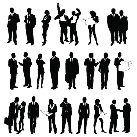 Illustration for twenty-five high quality vector silhouette of business people - Royalty Free Image