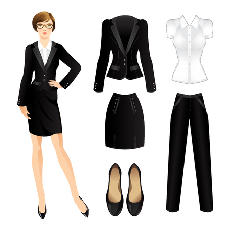 Illustrazione per Office clothes. Clothes for women. Business girl or professor in official black suit. Woman in glass - Immagini Royalty Free