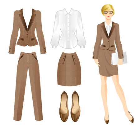 Illustrazione per Office tweed clothes. Clothes for women. Business girl or professor in official suit. Woman in glasses - Immagini Royalty Free