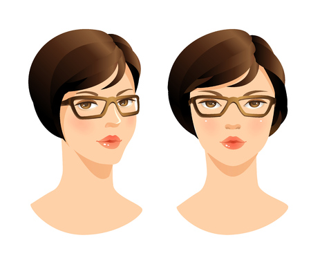 Beauty woman face. Face woman in glasses.