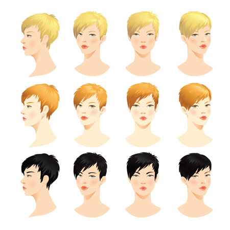 Woman face. Various turn heads. Vector set of beautiful face. Face in front. Face in profile. Blond hair, brunette hair, Red hair