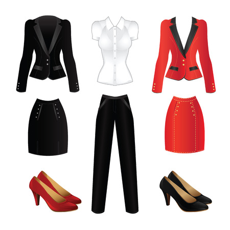 Office clothes. Clothes for women. Red formal suit and black official suit. Classic shoes for woman