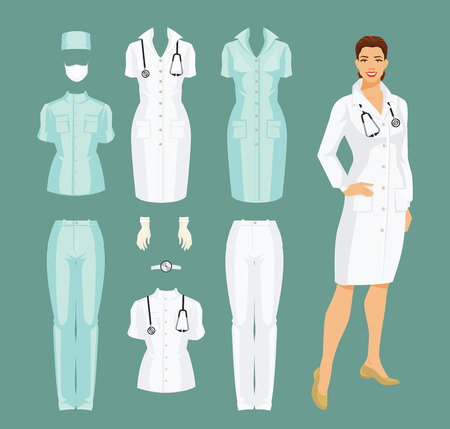 Illustrazione per Vector illustration of woman doctor in medical gown. Medical pants, jacket, gown, cap, gloves and mask isolated on color background. - Immagini Royalty Free
