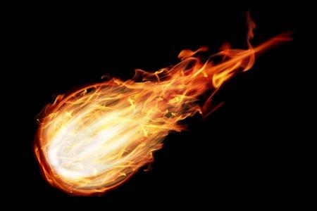 Photo pour it is one fire ball isolated on black. - image libre de droit