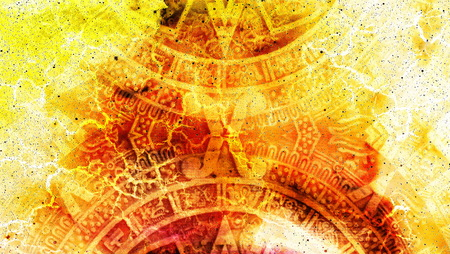 Photo for Ancient Mayan Calendar, Cosmic space and stars, abstract color Background, computer collage - Royalty Free Image