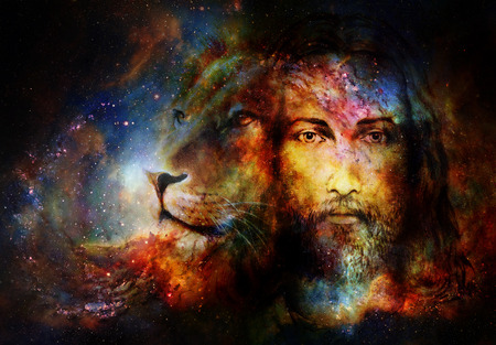 Photo for painting of Jesus with a lion in cosimc space, eye contact and lion profile portrait - Royalty Free Image
