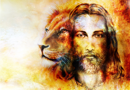 Photo for painting of Jesus with a lion, on beautiful colorful background with hint of space feeling, lion profile portrait - Royalty Free Image