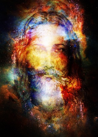 Photo for Jesus Christ painting with radiant colorful energy of light in cosmic space, eye contact - Royalty Free Image