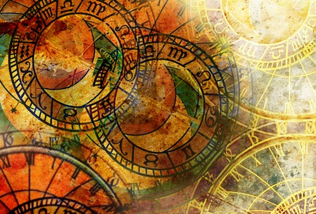 Photo for Old clock and zodiac collage. Abstract color background. - Royalty Free Image