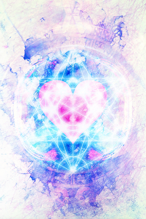 Photo pour Light merkaba and heart on marble background. - image libre de droit