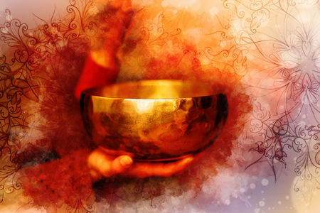 Foto de beautiful tibetian bowl with ornament and softly blurred watercolor background. - Imagen libre de derechos