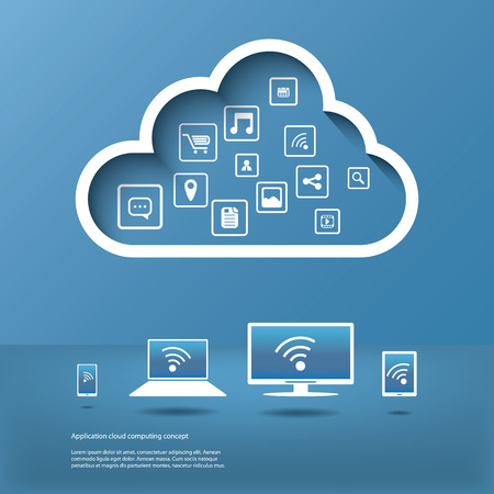 Illustration pour Cloud computing concept design suitable for business presentations, infographics, etc. - image libre de droit