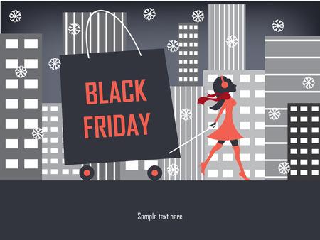 Ilustración de Black Friday shopping poster or flyer with elegant figure shopping. - Imagen libre de derechos
