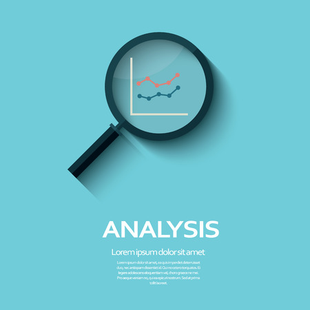 Illustration pour Business Analysis symbol with magnifying glass icon and chart. Eps10 vector illustration. - image libre de droit
