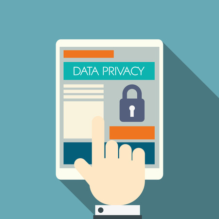 Illustration pour Data privacy in cloud computing technology with digital devices icons and applications for computers. - image libre de droit