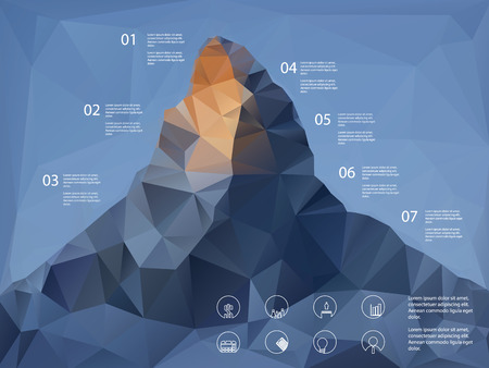 Illustration pour Low polygonal shape mountain background. Line icons for business presentation or report analysis. - image libre de droit