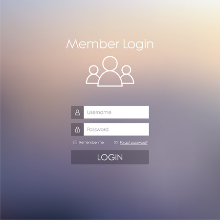 Photo pour Login form menu with simple line icons. Blurred background. Website element for your web design. - image libre de droit