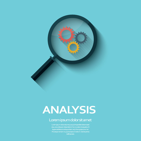 Illustration pour Business Analysis symbol with magnifying glass icon and gears. Long shadow flat design. - image libre de droit