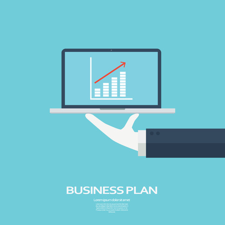Ilustración de Business plan concept. Growth chart for successful mission. Targets and goals on computer presentation.  vector illustration. - Imagen libre de derechos