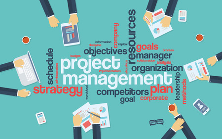 Illustration pour Project management infographics poster with businessmen working around the word cloud. Analysis and planning keywords. Office objects.  vector illustration - image libre de droit