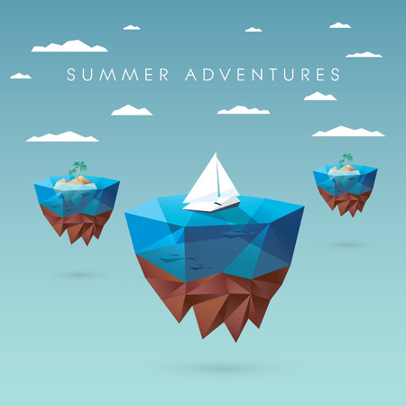 Illustration for Summer holiday concept design. Low polygonal style with floating islands, yachts, palm trees. Tropical paradise advertisement.  vector illustration. - Royalty Free Image