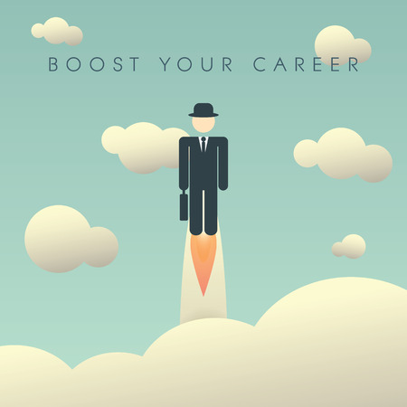 Illustration pour Career development poster template with businessman flying high. Climbing corporate ladder human resources background. Eps10 vector illustration. - image libre de droit