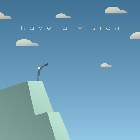 Photo pour Business vision concept. Looking at future with binoculars. Simple cartoon, space for text. Eps10 vector illustration. - image libre de droit