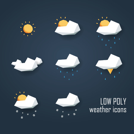 Illustration pour Low poly weather icons set. Collection of 3d polygonal symbols for forecast. Eps10 vector illustration. - image libre de droit