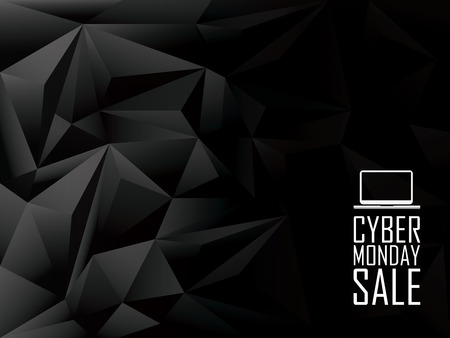 Illustration pour Cyber monday sale low poly vector background banner. Laptop icon with text message. Eps10 vector illustration. - image libre de droit