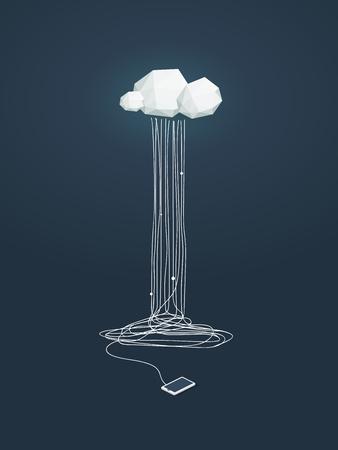 Illustration pour Cloud computing concept illustration with low poly clouds and smartphone connected. - image libre de droit